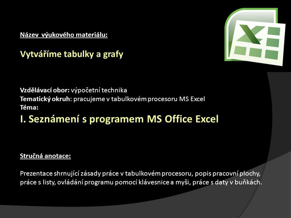 Název výukového materiálu: Vytváříme tabulky a grafy Vzdělávací obor: výpočetní technika Tematický okruh: pracujeme v tabulkovém procesoru MS Excel Té