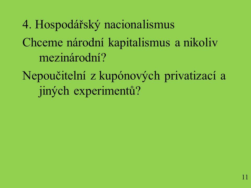 4. Hospodářský nacionalismus Chceme národní kapitalismus a nikoliv mezinárodní.