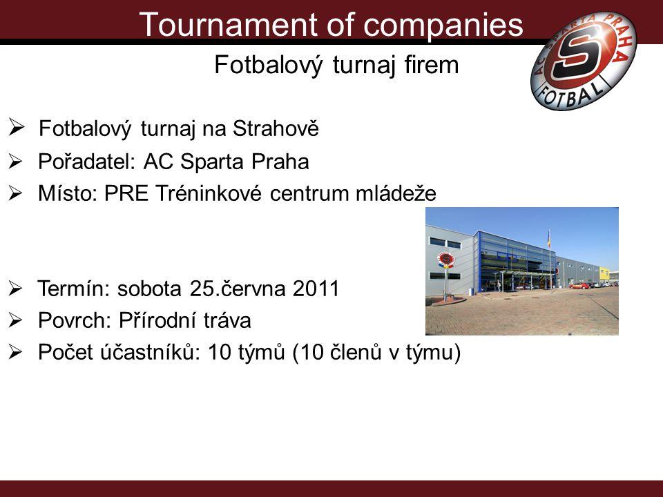 Tournament of companies Fotbalový turnaj firem Druhý ročník turnaje firem pod patronací AC Sparta Praha, pořádaný v nejmodernějším tréninkovém centru v ČR se zázemím na špičkové úrovni.
