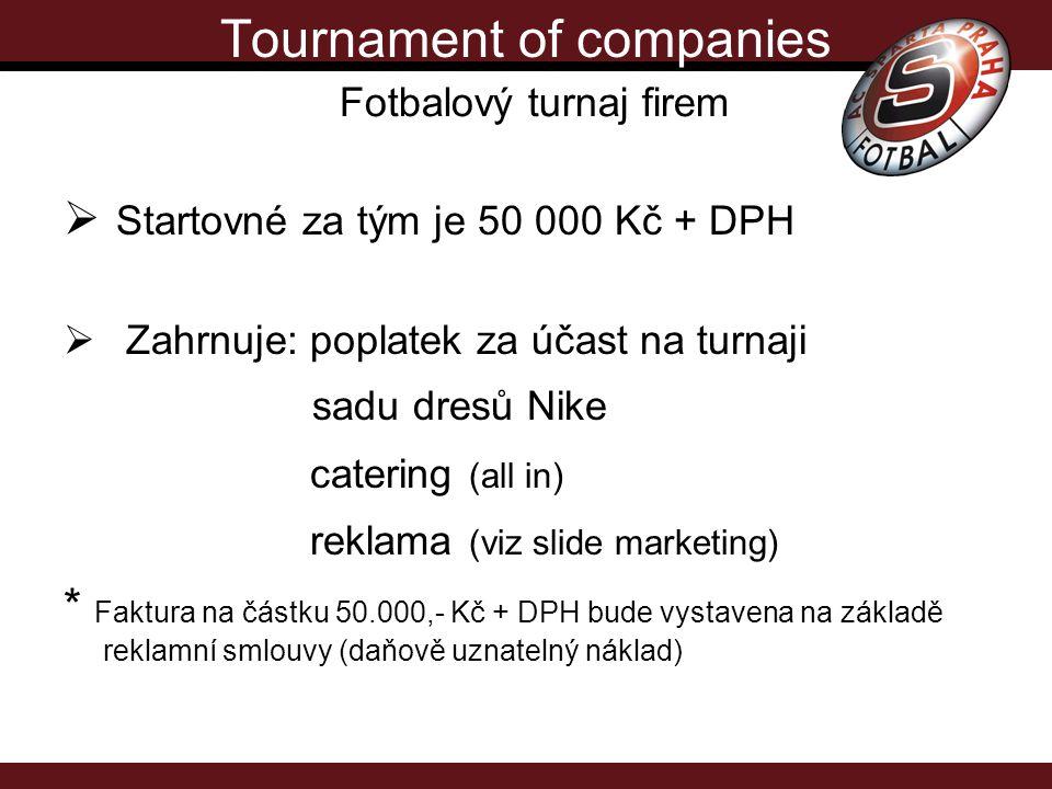 Tournament of companies Fotbalový turnaj firem  Startovné za tým je 50 000 Kč + DPH  Zahrnuje: poplatek za účast na turnaji sadu dresů Nike catering (all in) reklama (viz slide marketing) * Faktura na částku 50.000,- Kč + DPH bude vystavena na základě reklamní smlouvy (daňově uznatelný náklad)
