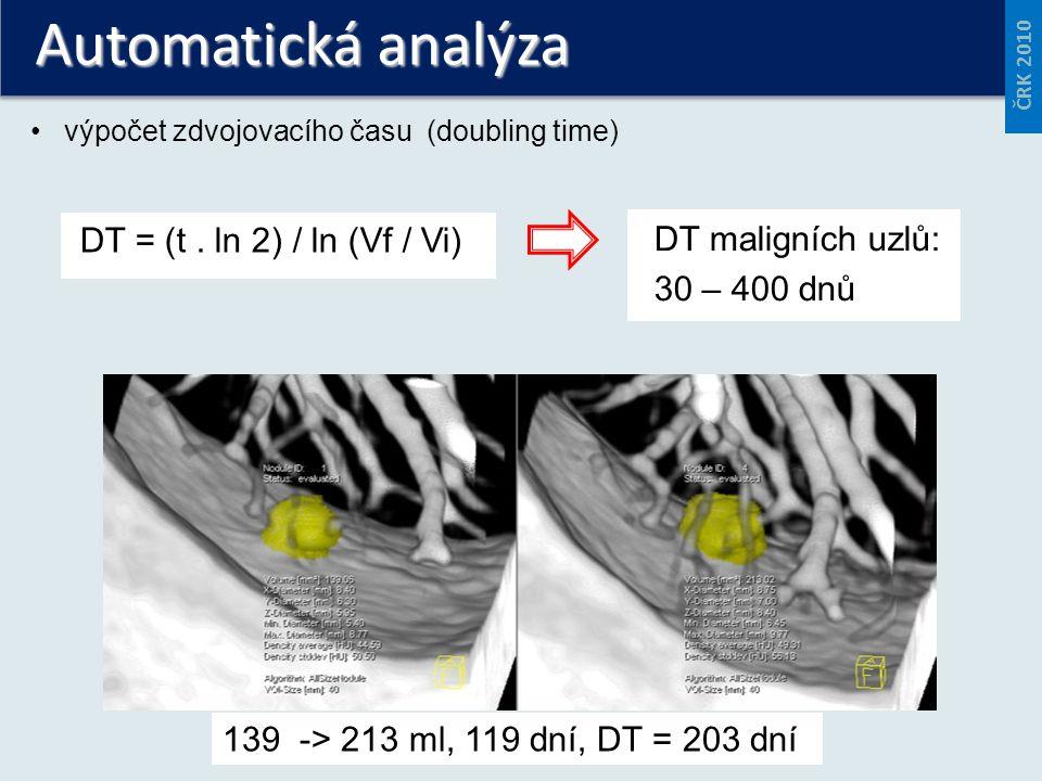 Automatická analýza výpočet zdvojovacího času (doubling time) DT = (t. ln 2) / ln (Vf / Vi) 139 -> 213 ml, 119 dní, DT = 203 dní DT maligních uzlů: 30