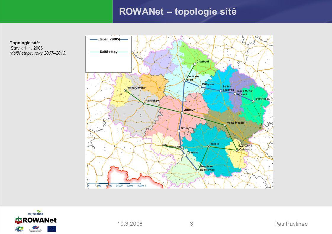 Petr Pavlinec310.3.2006 ROWANet – topologie sítě Topologie sítě: Stav k 1. 1. 2006 (další etapy: roky 2007–2013)