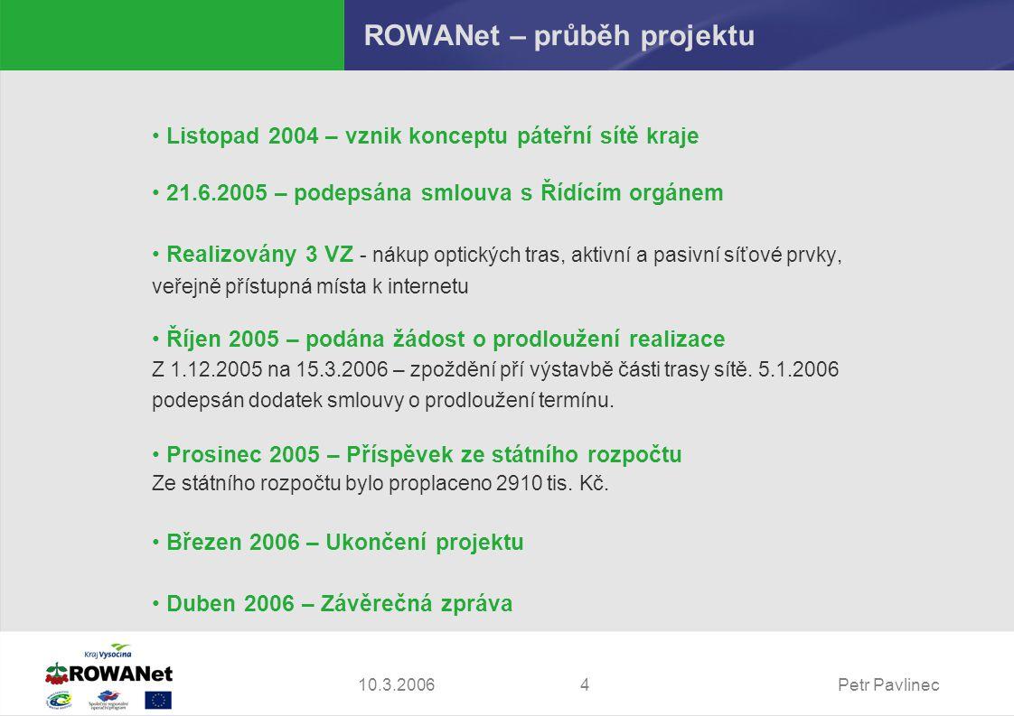 Petr Pavlinec410.3.2006 ROWANet – průběh projektu Listopad 2004 – vznik konceptu páteřní sítě kraje 21.6.2005 – podepsána smlouva s Řídícím orgánem Realizovány 3 VZ - nákup optických tras, aktivní a pasivní síťové prvky, veřejně přístupná místa k internetu Říjen 2005 – podána žádost o prodloužení realizace Z 1.12.2005 na 15.3.2006 – zpoždění pří výstavbě části trasy sítě.