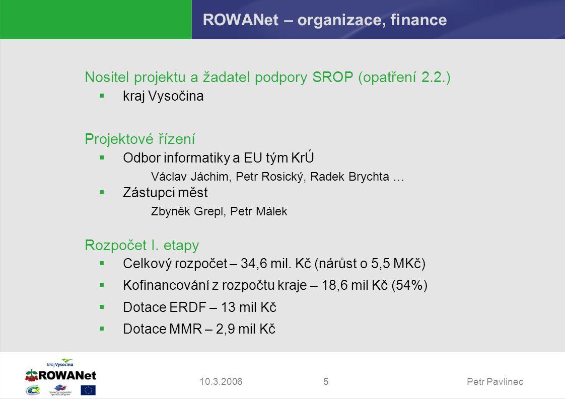 Petr Pavlinec510.3.2006 ROWANet – organizace, finance Nositel projektu a žadatel podpory SROP (opatření 2.2.)  kraj Vysočina Projektové řízení  Odbo