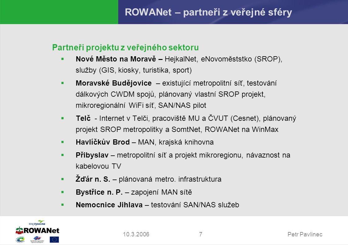 Petr Pavlinec710.3.2006 ROWANet – partneři z veřejné sféry Partneři projektu z veřejného sektoru  Nové Město na Moravě – HejkalNet, eNovoměststko (SROP), služby (GIS, kiosky, turistika, sport)  Moravské Budějovice – existující metropolitní síť, testování dálkových CWDM spojů, plánovaný vlastní SROP projekt, mikroregionální WiFi síť, SAN/NAS pilot  Telč - Internet v Telči, pracoviště MU a ČVUT (Cesnet), plánovaný projekt SROP metropolitky a SomtNet, ROWANet na WinMax  Havlíčkův Brod – MAN, krajská knihovna  Přibyslav – metropolitní síť a projekt mikroregionu, návaznost na kabelovou TV  Žďár n.
