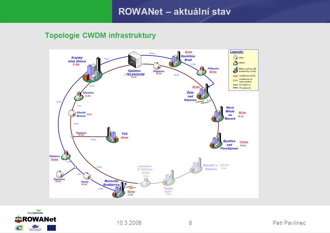 Petr Pavlinec810.3.2006 ROWANet – aktuální stav Topologie CWDM infrastruktury