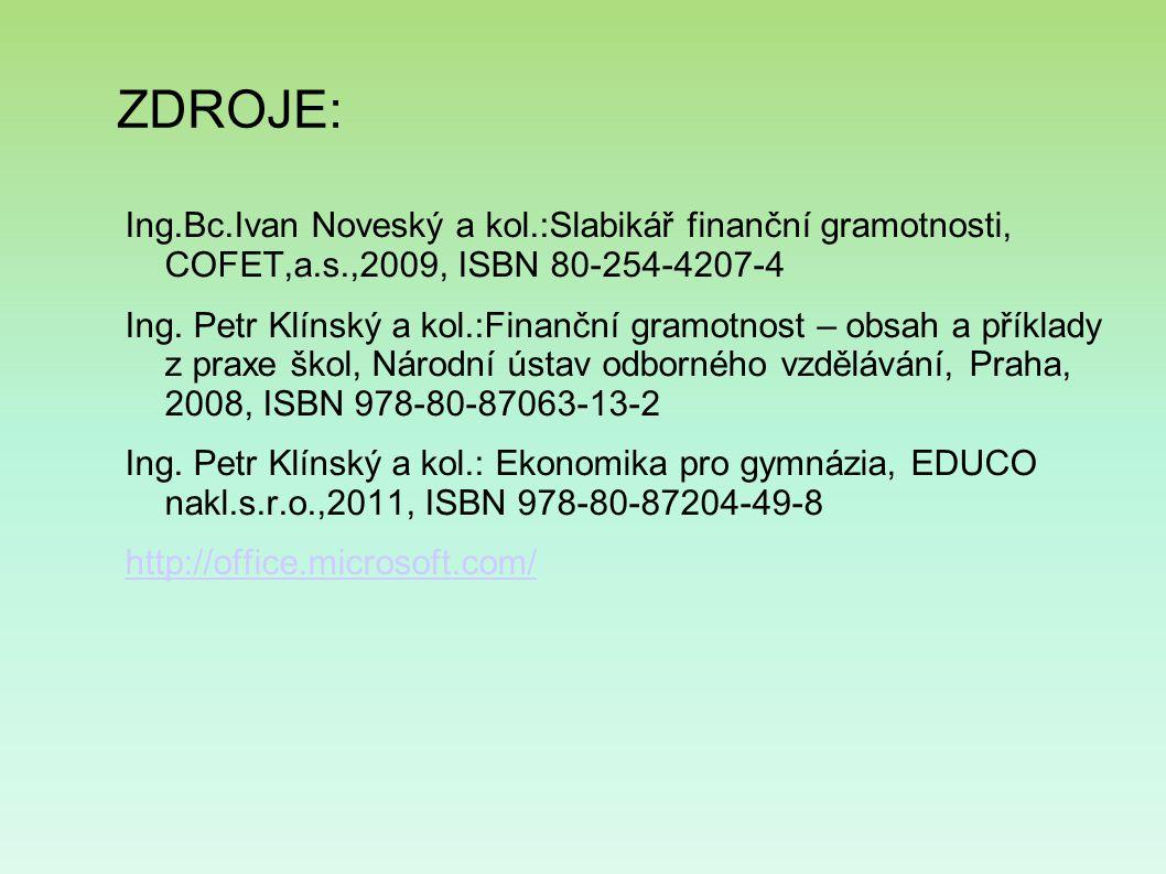 ZDROJE: Ing.Bc.Ivan Noveský a kol.:Slabikář finanční gramotnosti, COFET,a.s.,2009, ISBN 80-254-4207-4 Ing.
