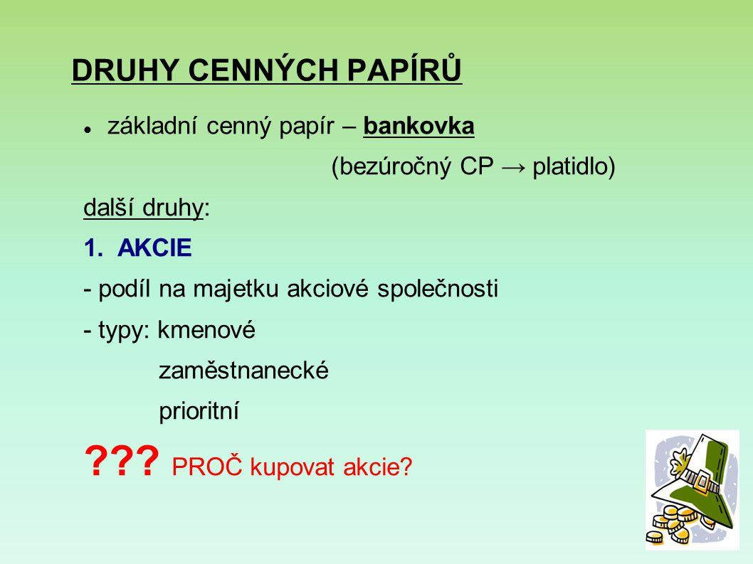 DRUHY CENNÝCH PAPÍRŮ základní cenný papír – bankovka (bezúročný CP → platidlo) další druhy: 1.