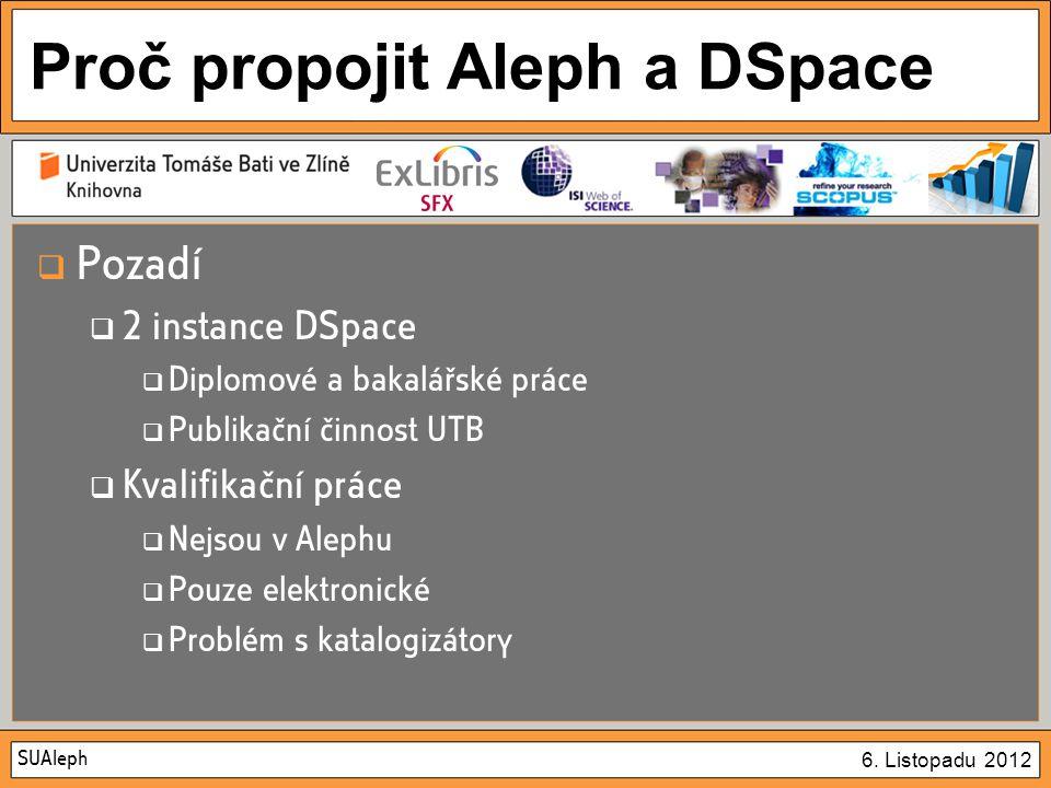 SUAleph 6. Listopadu 2012 Proč propojit Aleph a DSpace  Pozadí  2 instance DSpace  Diplomové a bakalářské práce  Publikační činnost UTB  Kvalifik