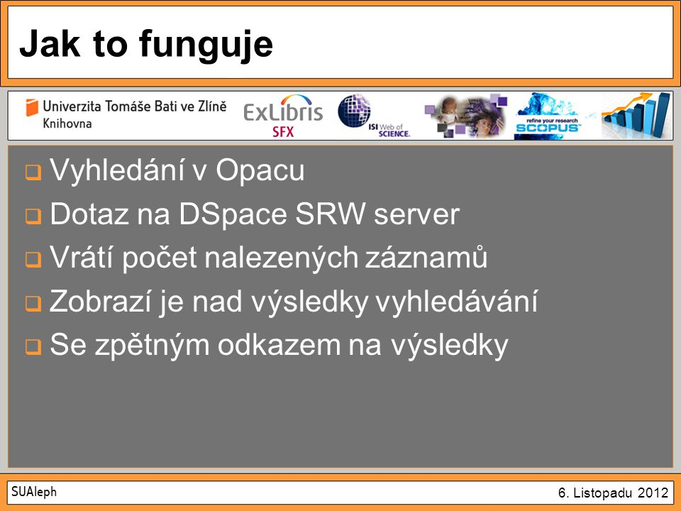 SUAleph 6. Listopadu 2012 Jak to funguje  Vyhledání v Opacu  Dotaz na DSpace SRW server  Vrátí počet nalezených záznamů  Zobrazí je nad výsledky v