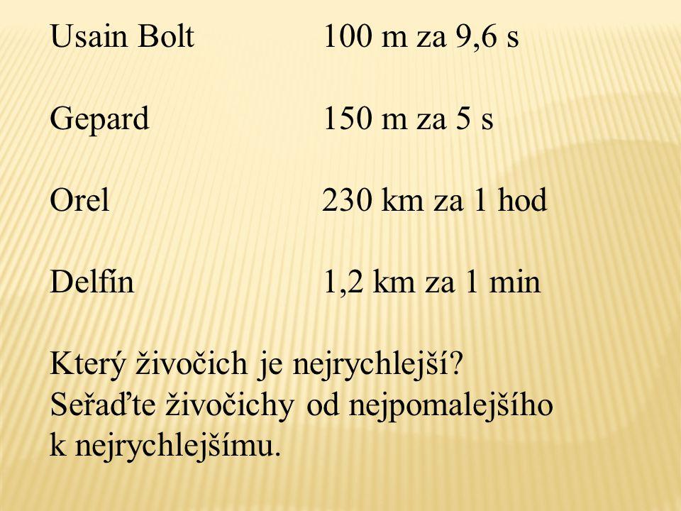 Usain Bolt100 m / 9, 6 s 10, 41 m/s Gepard150 m / 5s 30 m / s Orel230 km / 1 hod 230 km = 230 000 m 1 hod = 60 min = 3 600 s 230 000 m / 3 600 s 64 m / s Delfín1, 2 km / 1 min 1, 2 km = 1 200m1 min = 60 s 1 200 m / 60 s 20 m / s