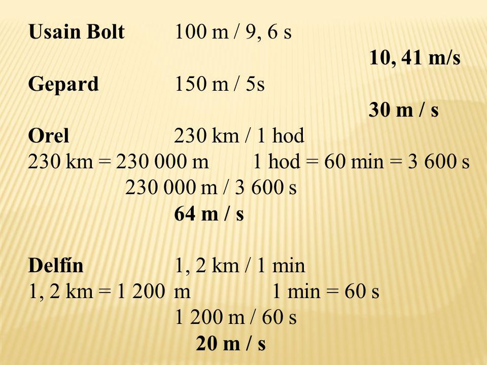 Usain Bolt100 m / 9, 6 s 10, 41 m/s Gepard150 m / 5s 30 m / s Orel230 km / 1 hod 230 km = 230 000 m 1 hod = 60 min = 3 600 s 230 000 m / 3 600 s 64 m