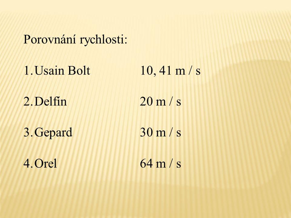 Porovnání rychlosti: 1.Usain Bolt10, 41 m / s 2.Delfín20 m / s 3.Gepard30 m / s 4.Orel64 m / s