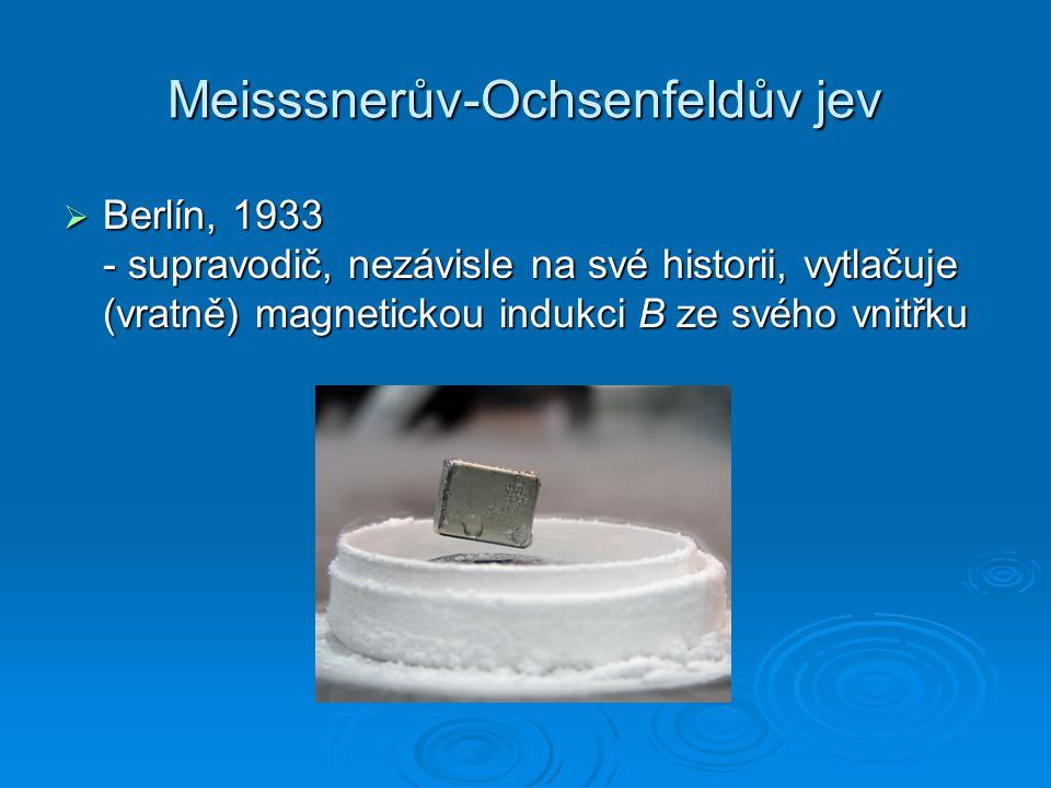 Meisssnerův-Ochsenfeldův jev  Berlín, 1933 - supravodič, nezávisle na své historii, vytlačuje (vratně) magnetickou indukci B ze svého vnitřku
