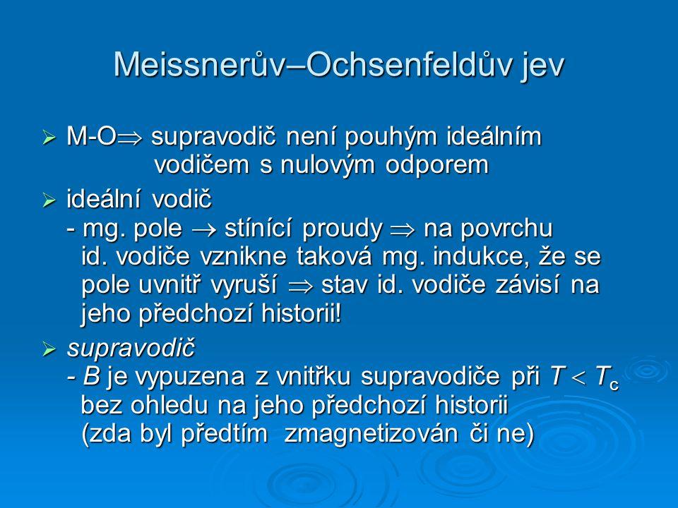Meissnerův–Ochsenfeldův jev  M-O  supravodič není pouhým ideálním vodičem s nulovým odporem  ideální vodič - mg. pole  stínící proudy  na povrchu