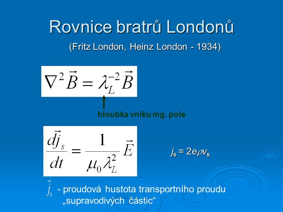 Rovnice bratrů Londonů (Fritz London, Heinz London - 1934) (Fritz London, Heinz London - 1934) hloubka vniku mg. pole - proudová hustota transportního