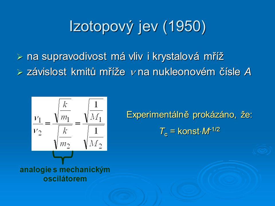 Izotopový jev (1950)  na supravodivost má vliv i krystalová mříž  závislost kmitů mříže na nukleonovém čísle A analogie s mechanickým oscilátorem Ex