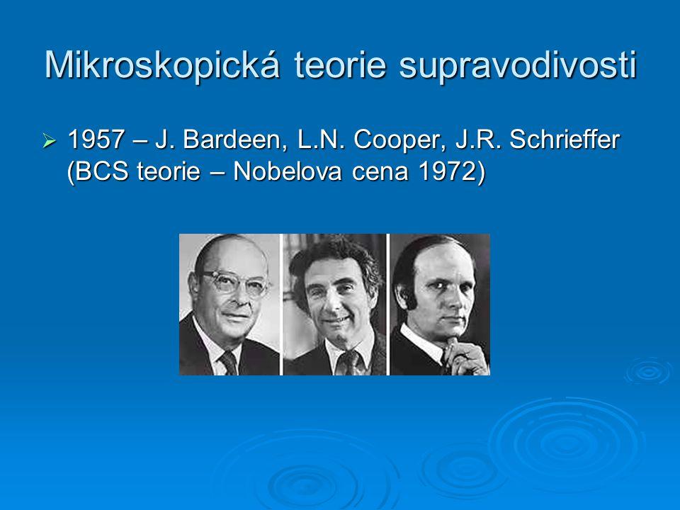 Mikroskopická teorie supravodivosti  1957 – J. Bardeen, L.N. Cooper, J.R. Schrieffer (BCS teorie – Nobelova cena 1972)