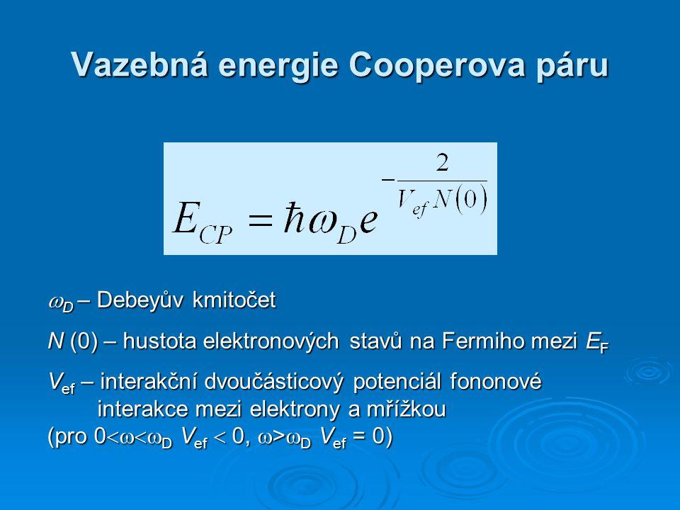 Vazebná energie Cooperova páru  D – Debeyův kmitočet N (0) – hustota elektronových stavů na Fermiho mezi E F V ef – interakční dvoučásticový potenciá