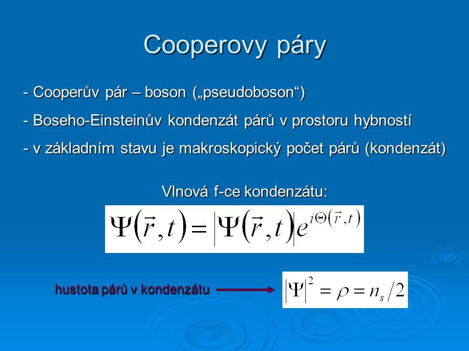 """Cooperovy páry - Cooperův pár –boson (""""pseudoboson"""") - Cooperův pár – boson (""""pseudoboson"""") - Boseho-Einsteinův kondenzát párů v prostoru hybností - v"""