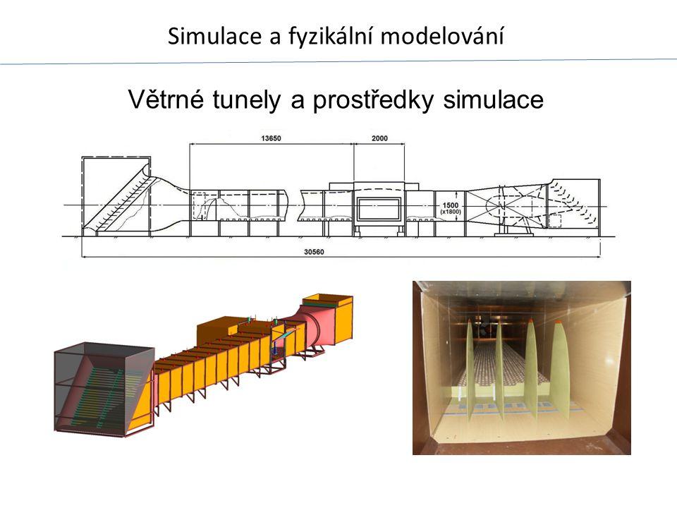 Simulace a fyzikální modelování Větrné tunely a prostředky simulace