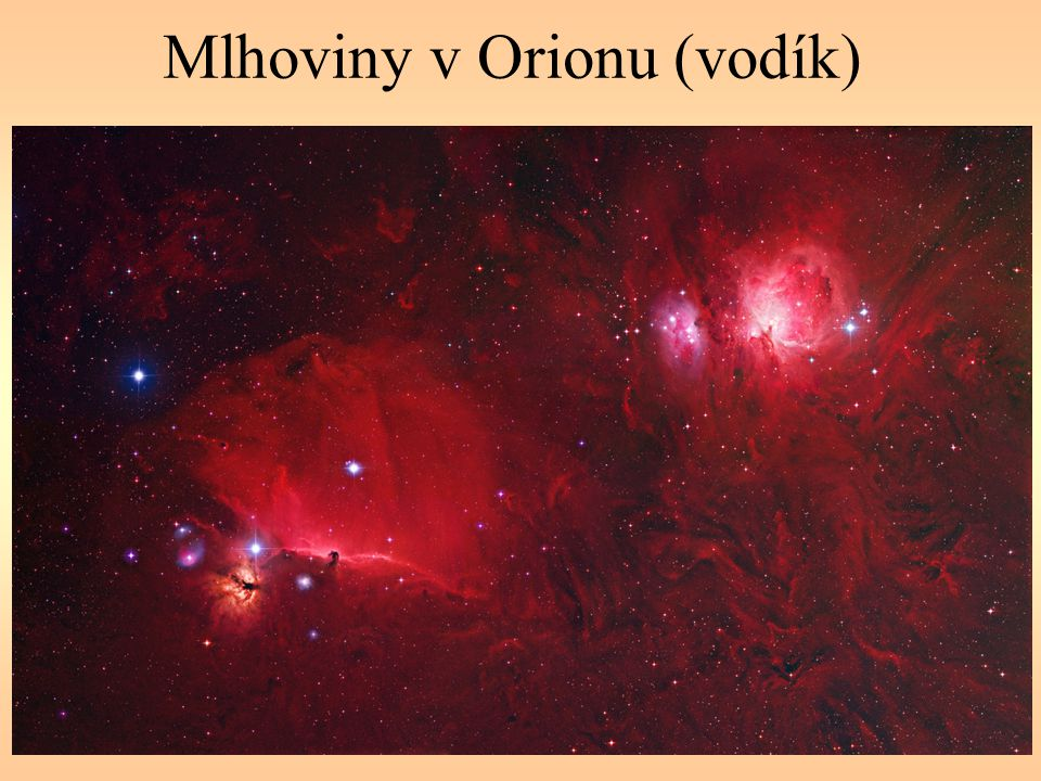 Mlhoviny v Orionu (vodík)