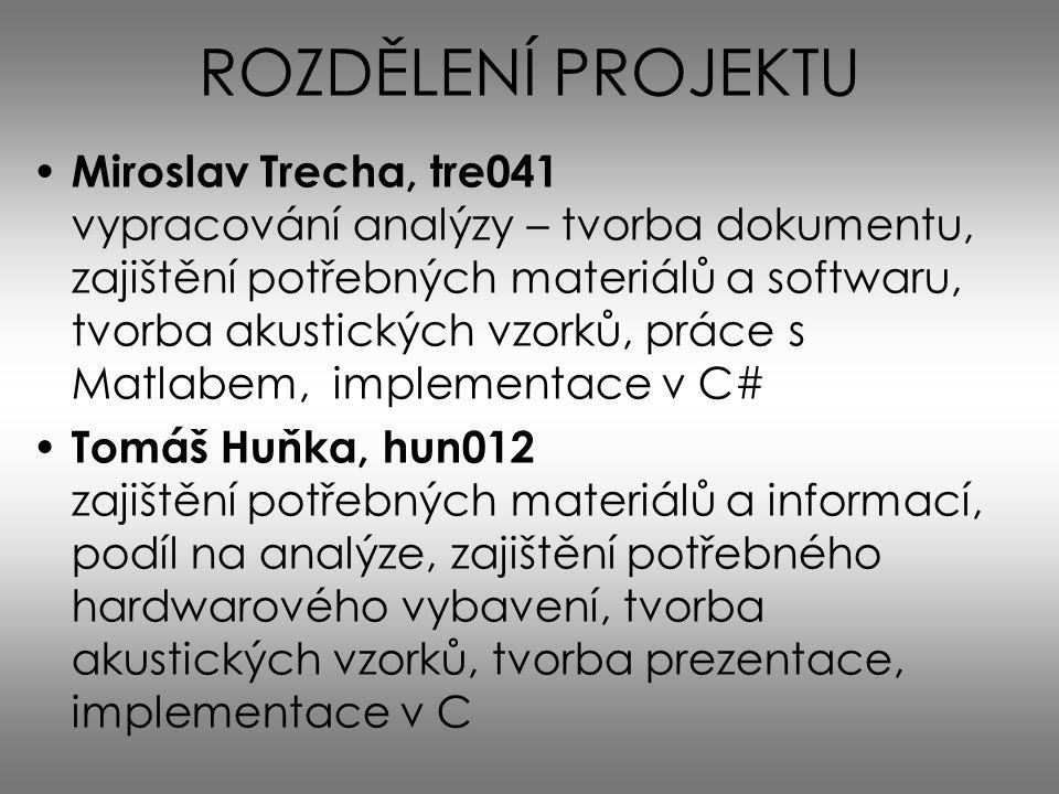 ROZDĚLENÍ PROJEKTU Miroslav Trecha, tre041 vypracování analýzy – tvorba dokumentu, zajištění potřebných materiálů a softwaru, tvorba akustických vzork
