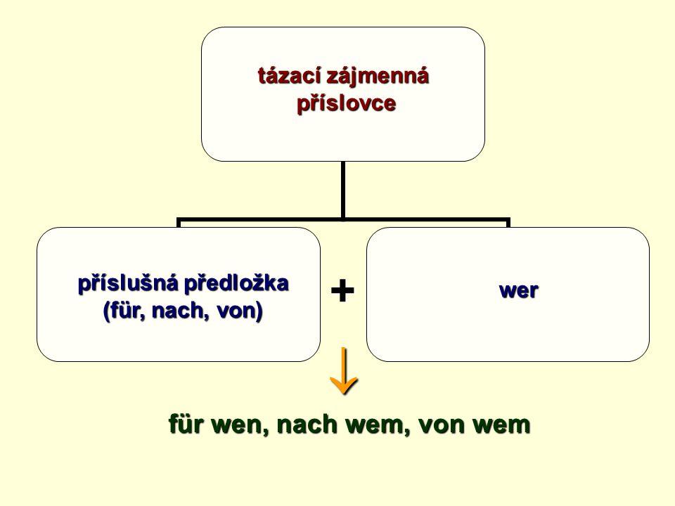 tázací zájmenná příslovce +  wofür, wonach, vovon wo příslušná předložka (für, nach, von)