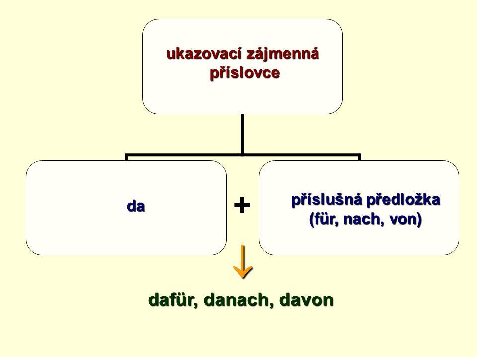 ukazovací zájmenná příslovce +  dafür, danach, davon da příslušná předložka (für, nach, von)