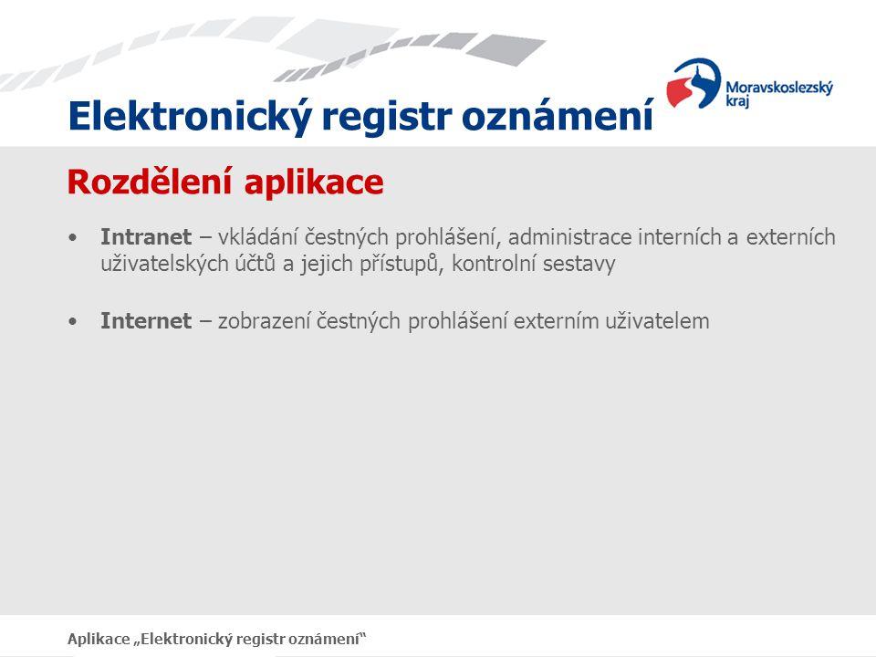 """Elektronický registr oznámení Aplikace """"Elektronický registr oznámení Technické požadavky aplikace PHP skripty MySQL databáze (přístupná pro obě části programu) Webový server Apache s podporou PHP, nebo IIS s podporou PHP Testováno a provozováno na Apache 2.2.3, MySQL 5.0.27, PHP 5.2.2"""