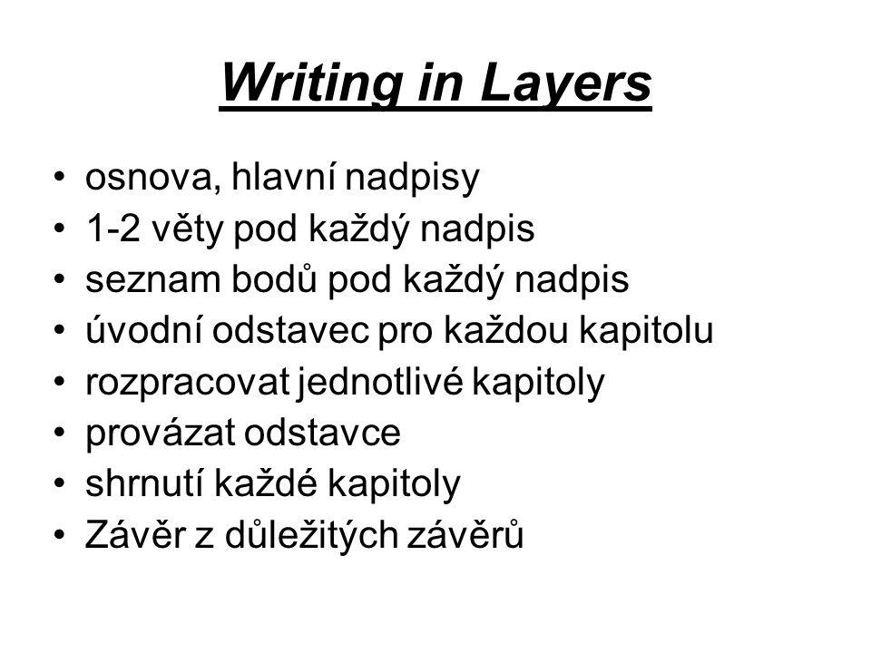 Writing in Layers osnova, hlavní nadpisy 1-2 věty pod každý nadpis seznam bodů pod každý nadpis úvodní odstavec pro každou kapitolu rozpracovat jednotlivé kapitoly provázat odstavce shrnutí každé kapitoly Závěr z důležitých závěrů