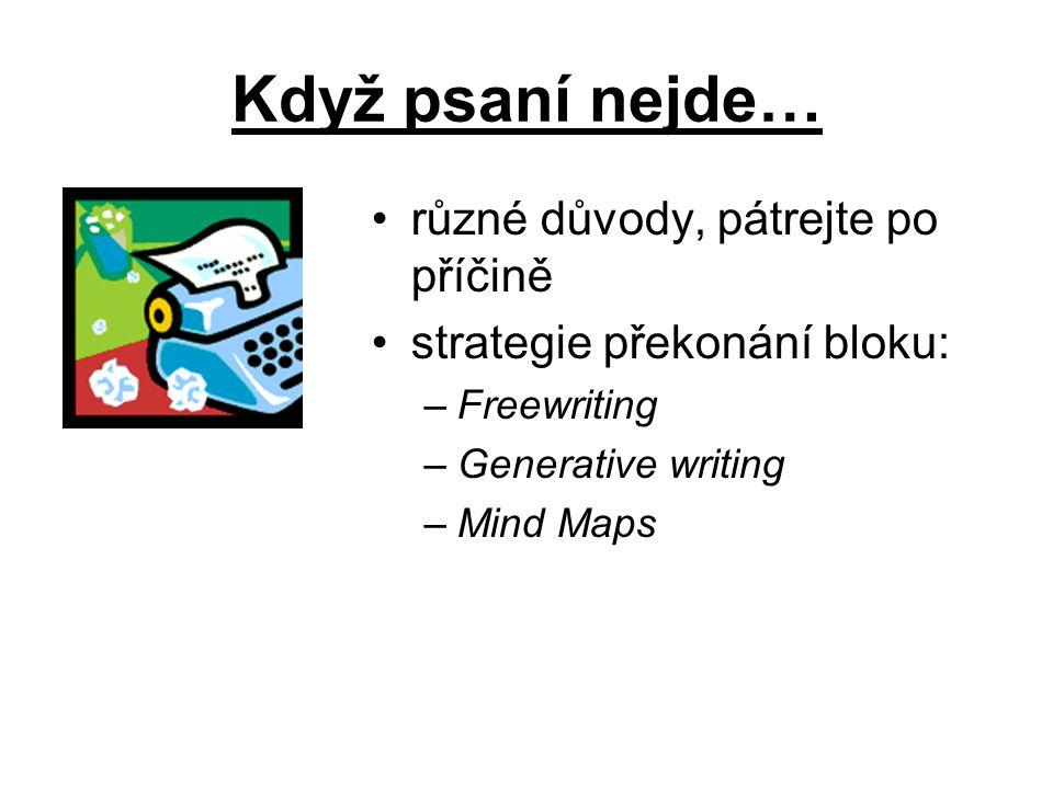 Když psaní nejde… různé důvody, pátrejte po příčině strategie překonání bloku: –Freewriting –Generative writing –Mind Maps