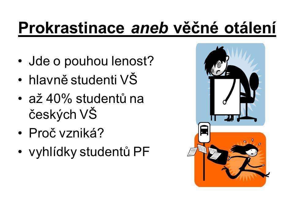 Prokrastinace aneb věčné otálení Jde o pouhou lenost? hlavně studenti VŠ až 40% studentů na českých VŠ Proč vzniká? vyhlídky studentů PF