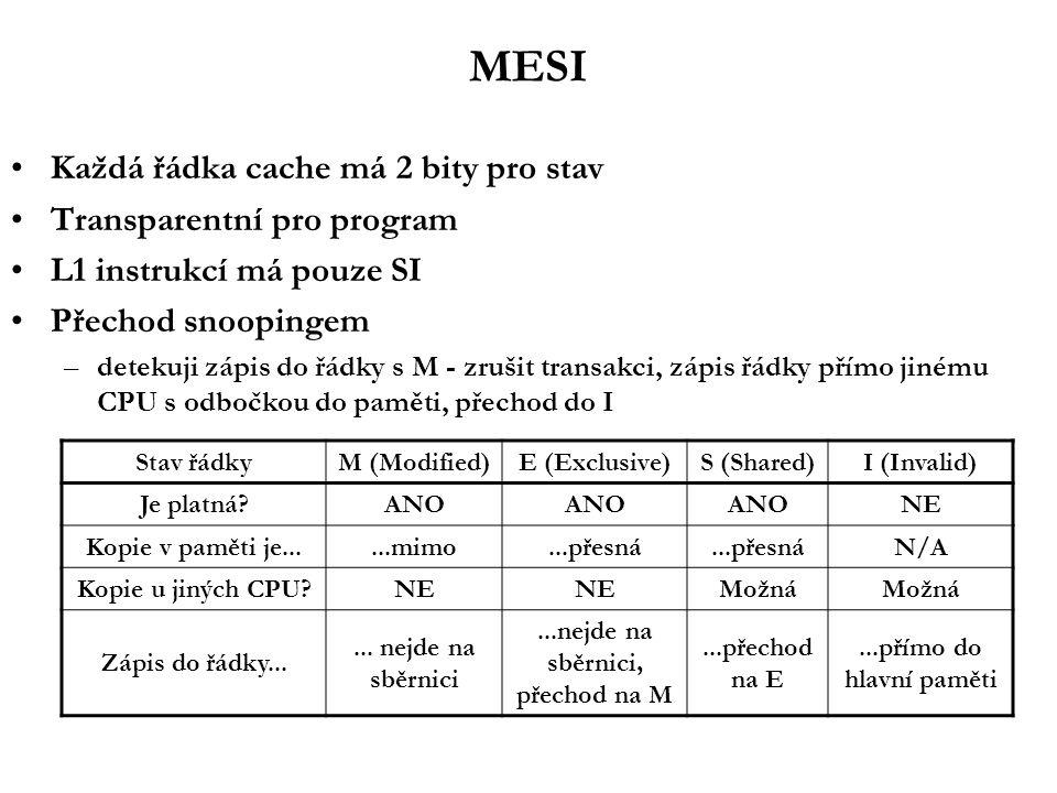 MESI Každá řádka cache má 2 bity pro stav Transparentní pro program L1 instrukcí má pouze SI Přechod snoopingem –detekuji zápis do řádky s M - zrušit