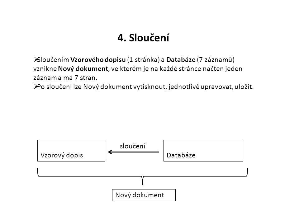 4. Sloučení  Sloučením Vzorového dopisu (1 stránka) a Databáze (7 záznamů) vznikne Nový dokument, ve kterém je na každé stránce načten jeden záznam a