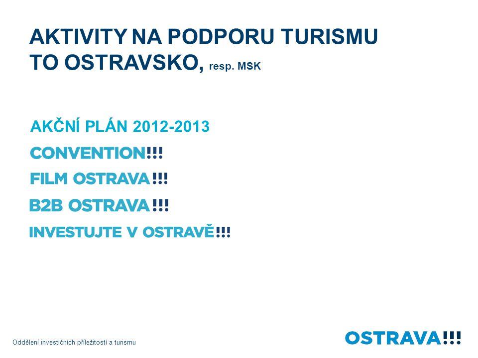 Oddělení investičních příležitostí a turismu AKTIVITY NA PODPORU TURISMU TO OSTRAVSKO, resp. MSK AKČNÍ PLÁN 2012-2013