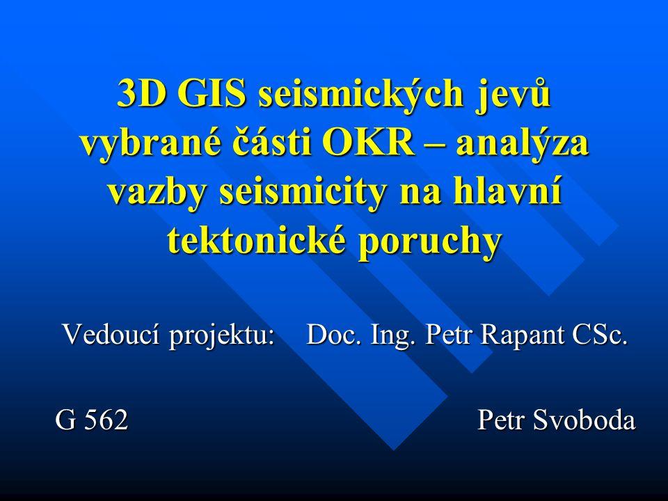 3D GIS seismických jevů vybrané části OKR – analýza vazby seismicity na hlavní tektonické poruchy Vedoucí projektu: Doc.