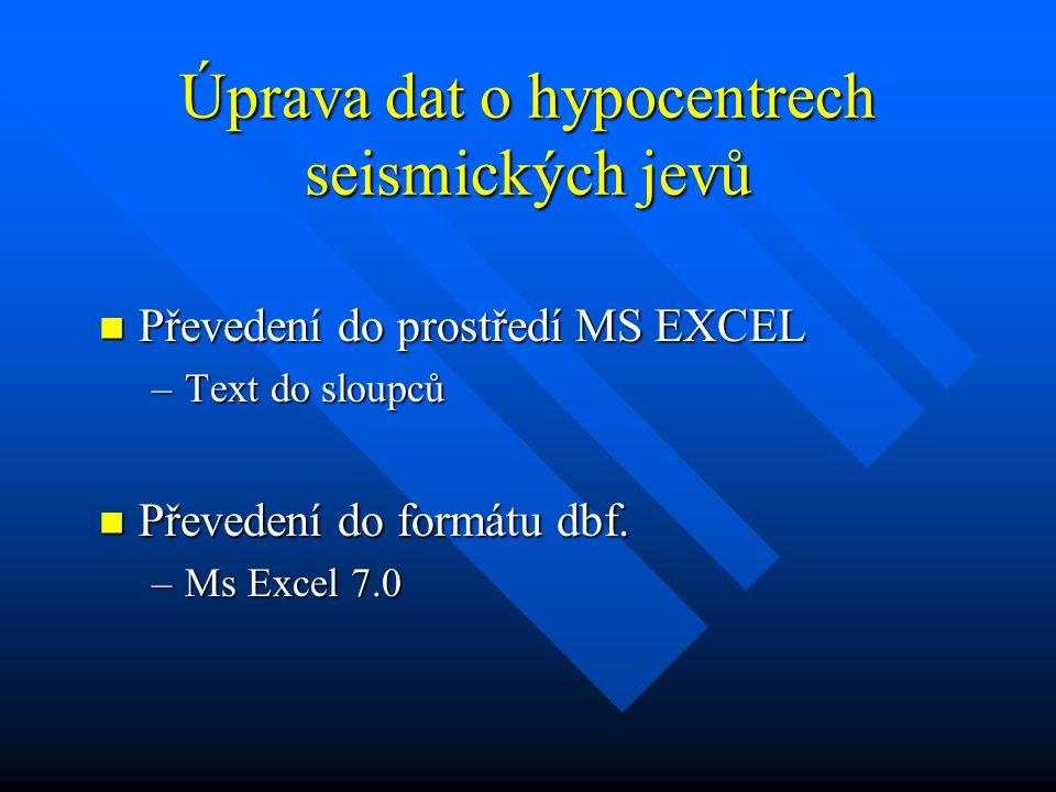 Úprava dat o hypocentrech seismických jevů Převedení do prostředí MS EXCEL Převedení do prostředí MS EXCEL –Text do sloupců Převedení do formátu dbf.