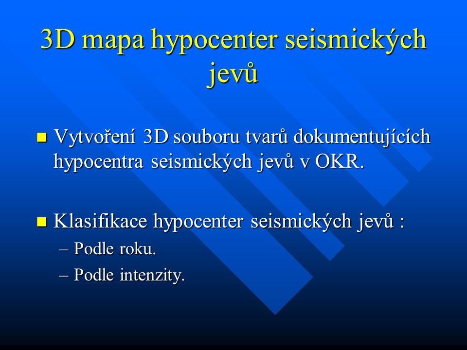 3D mapa hypocenter seismických jevů Vytvoření 3D souboru tvarů dokumentujících hypocentra seismických jevů v OKR.