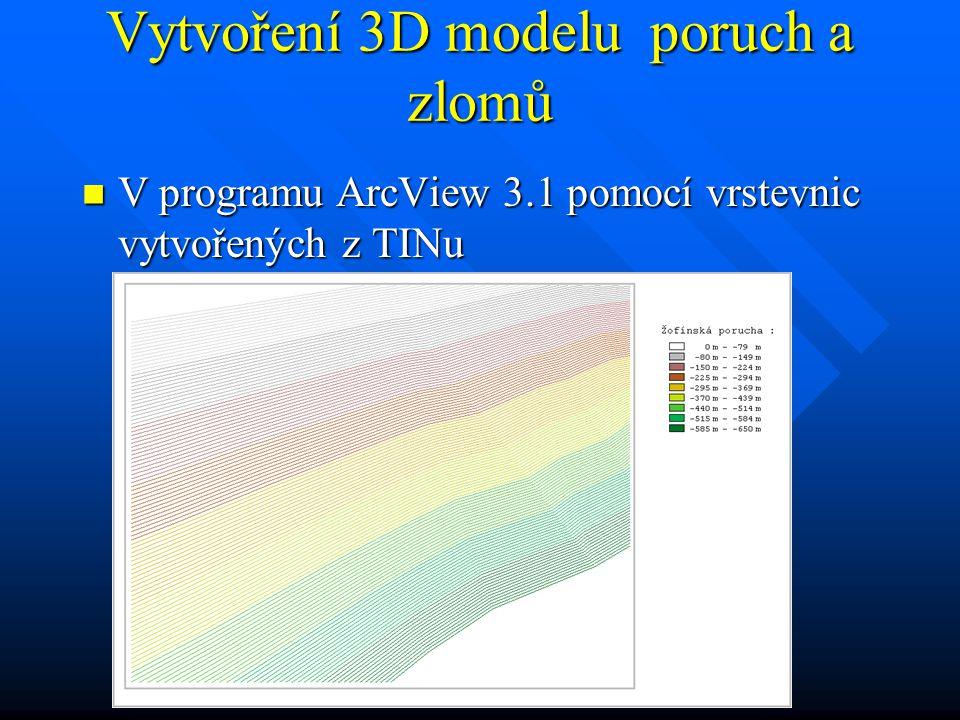 Vytvoření 3D modelu poruch a zlomů V programu ArcView 3.1 pomocí vrstevnic vytvořených z TINu V programu ArcView 3.1 pomocí vrstevnic vytvořených z TINu
