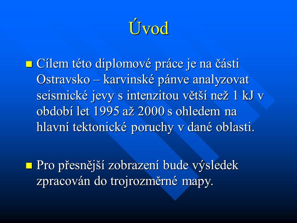 Úvod Cílem této diplomové práce je na části Ostravsko – karvinské pánve analyzovat seismické jevy s intenzitou větší než 1 kJ v období let 1995 až 2000 s ohledem na hlavní tektonické poruchy v dané oblasti.