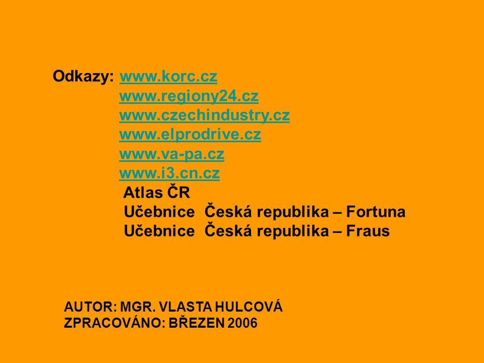 Odkazy: www.korc.czwww.korc.cz www.regiony24.cz www.czechindustry.cz www.elprodrive.cz www.va-pa.cz www.i3.cn.cz Atlas ČR Učebnice Česká republika – F