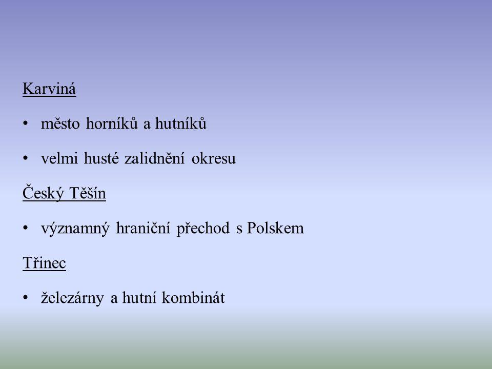 Karviná město horníků a hutníků velmi husté zalidnění okresu Český Těšín významný hraniční přechod s Polskem Třinec železárny a hutní kombinát
