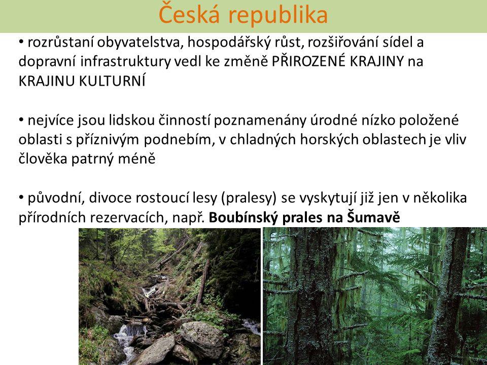 Česká republika rozrůstaní obyvatelstva, hospodářský růst, rozšiřování sídel a dopravní infrastruktury vedl ke změně PŘIROZENÉ KRAJINY na KRAJINU KULT