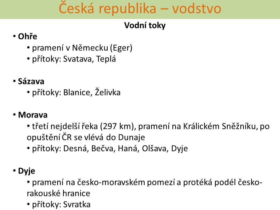 Česká republika – vodstvo Vodní toky Ohře pramení v Německu (Eger) přítoky: Svatava, Teplá Sázava přítoky: Blanice, Želivka Morava třetí nejdelší řeka