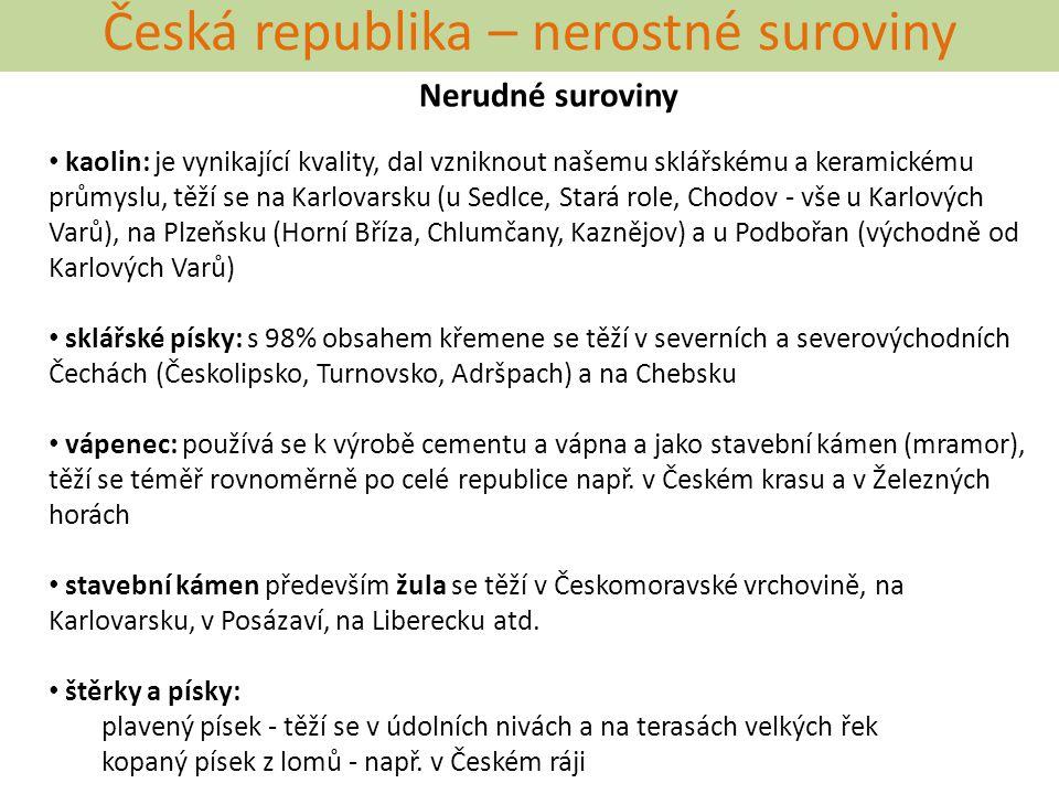 Česká republika – nerostné suroviny Nerudné suroviny kaolin: je vynikající kvality, dal vzniknout našemu sklářskému a keramickému průmyslu, těží se na