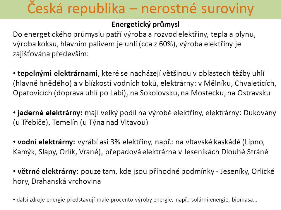 Česká republika – nerostné suroviny Energetický průmysl Do energetického průmyslu patří výroba a rozvod elektřiny, tepla a plynu, výroba koksu, hlavní