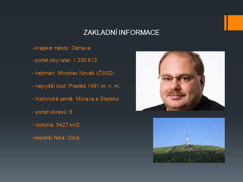 - krajské město: Ostrava - počet obyvatel: 1 230 613 - hejtman: Miroslav Novák (ČSSD) - nejvyšší bod: Praděd 1491 m. n. m. - historické země: Morava a