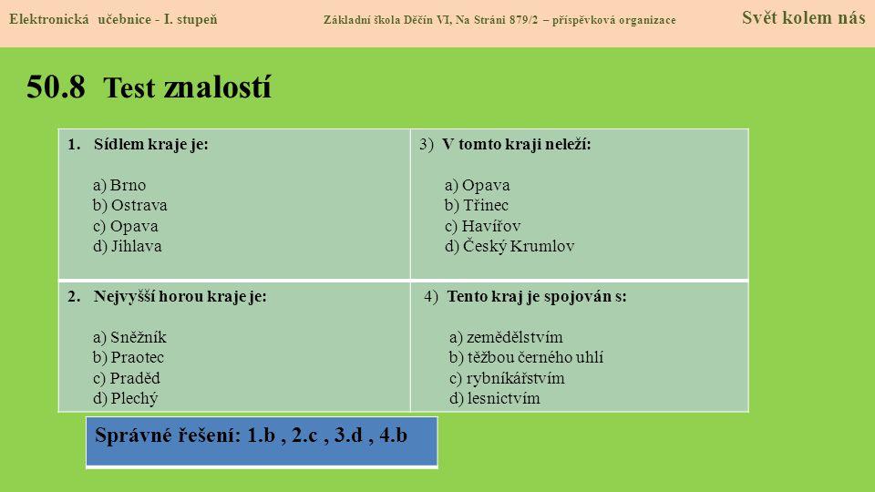 50.8 Test znalostí Elektronická učebnice - I.