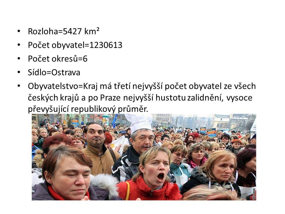 Rozloha=5427 km² Počet obyvatel=1230613 Počet okresů=6 Sídlo=Ostrava Obyvatelstvo=Kraj má třetí nejvyšší počet obyvatel ze všech českých krajů a po Pr